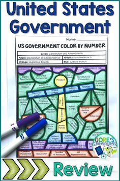 Your upper elementary students will LOVE this United States Government Color by Number Activity! This printable will be a great way to review important facts and people from early American history. Facts about the Declaration of Independence, Constitution, and Branches of Government are included. Perfect for research, review, stations/centers, and more! {Grades 3, 4, 5, 3rd, 4th, 5th}