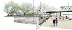 Vizualizácia Fajnorovho nábrežia, pohľad k Starému mostu.