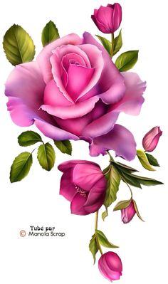 Tubes fleurs page 3 Art Floral, Beautiful Flowers Wallpapers, Beautiful Roses, Vintage Diy, Vintage Flowers, Rose Tattoos, Flower Tattoos, Flower Images, Flower Art