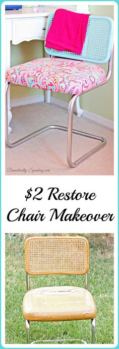 $2 Chair from the Restore is transformed with spray paint and fabric. Love how a little DIY can make a BIG statement.