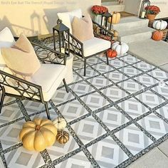 Tile Stencils for Walls, Floors, and DIY Kitchen Decor – Royal Design Studio Stencils Stencil Fabric, Stencil Painting On Walls, Painting Concrete, Painted Floors, Painted Furniture, Painted Floor Tiles, Tile Floor, Large Stencils, Tile Stencils