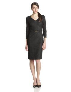 Jones New York Women's Leather Trimmed Dress, Black, 10 Jones New York,http://www.amazon.com/dp/B00H7W4QUY/ref=cm_sw_r_pi_dp_3eOftb1KVGJTTERE