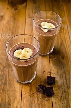 przepis na koktajl z bananów, kakao, daktyli Nutribullet, Hot Chocolate, Liquor, Panna Cotta, Smoothies, Food And Drink, Pudding, Sweets, Cookies