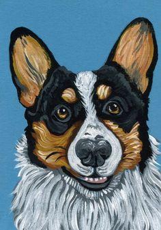 ACEO Original Art Painting Pembroke Welsh Tri Corgi Pet Dog Art-Carla Smale #Impressionism