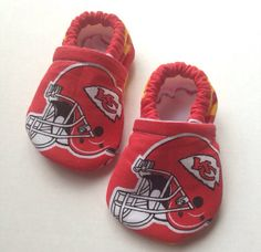 Kansas City Chiefs Cloth Baby Booties on Etsy, $15.00