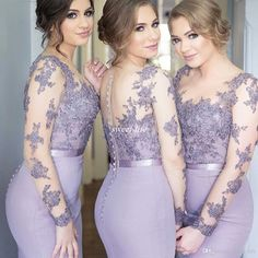 Lilac Illusion Long Sleeve Bridesmaid Dresses Mermaid Satin Covered Button Back Plus Size 2016 Lace Formal Evening Gowns Maid of Honor Dress Online with $83.1/Piece on Sweet-life's Store | DHgate.com