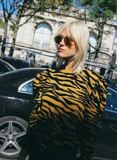 Linda Tol in Kenzo spotted on the street at Paris Fashion Week. Photographed by Phil Oh.