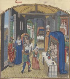 Valerius Maximus, Facta et dicta memorabilia in the French translation by Simon de Hesdin Books V-IX, f. (The baths of Sergius Orata). Medieval Cloak, Medieval Life, Medieval Fashion, Medieval Manuscript, Illuminated Manuscript, Women In History, Art History, 15th Century Clothing, Medieval Market