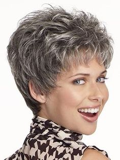 Curly Beautiful Wig Cut Short Pixie Wigs for Women Style Synthetic Gray Hair Wig with Bangs - Short Hair Styles Hair Styles For Women Over 50, Short Hair Cuts For Women, Short Hairstyles For Women, Straight Hairstyles, Grey Pixie Hair, Grey Hair Wig, Brown Hair, Pixie Hairstyles, Hairstyles Over 50