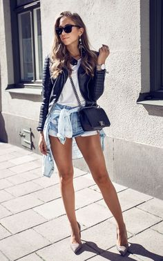 Denim shorts + leather jacket casual summer outfit