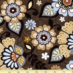 Moonstruck Floral Cotton Fabric - Dark Brown 35076-3