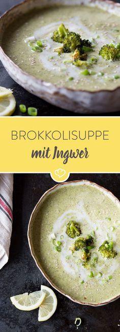 Bevor der Brokkoli in die Suppe gelangt, wird er im Ofen goldbraun geröstet. Dadurch erhält die Suppe ein besonders leckeres Aroma.