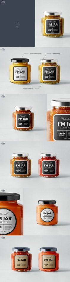 High quality and realistic mockup. With this files can create personalized product with custom design. Mockup works only with Photoshop (. Files are really easy to use. Jam Packaging, Glass Packaging, Packaging Design, Packaging Ideas, Jam Jar, Jar Labels, Aioli, Chutney, Candy