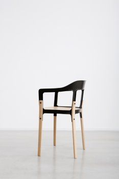 """Ronan & Erwan Bouroullec / """"The Steelwood chair is a radical assemblage of two traditional materials, forming a simple and comfortable chair. Unlike most of its plastic siblings, it is aimed to become more delicate through time, acquiring a patina over uses and years. Its silhouette makes it an easy chair, adaptable to any place, from a café terrace to a cosy dinner table."""""""