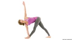 the hyperextended knee, woman in revolved triangle parivrtta trikonasana yoga pose for digestion.