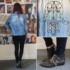 Vintage Customised Machine Embroidered Hamsa Jacket, Urban Outfitters Black Skinnies, Office Nighthawk Boots