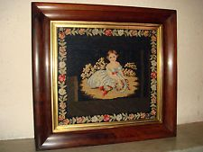 19th Century Needlepoint Woolwork,Antique Rosewood Picture Frame,Sampler.