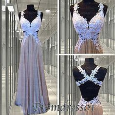 #promdress01 prom dresses - 2015 cute white lace cross back A-line long prom dress for teens, ball gown, occasion dress, #prom2k15,#promdress -> www.promdress01.c... #coniefox #2016prom