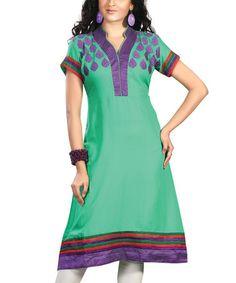 Love this Green & Purple Embroidered Silk-Blend Notch Neck Dress by Chiro's on #zulily! #zulilyfinds