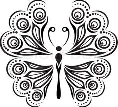 Silhouette butterfly with open wings tracery. Black and white ...