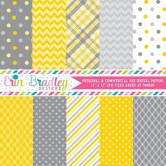This 10 piece personal & commercial use digital paper set includes yellow and grey plaid, chevron patterns, polka dots and stripes. These papers are also perfect for digital scrapbooking! Papel Scrapbook, Digital Scrapbook Paper, Digital Papers, Scrapbook Layouts, Quatrefoil Pattern, Chevron Patterns, Stationary Shop, How To Make Planner, Craft Free
