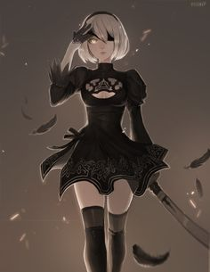 2B, Matilda Fiship on ArtStation at https://www.artstation.com/artwork/NY8Og - More at https://pinterest.com/supergirlsart #nier #automata #fanart