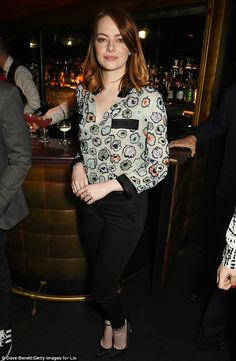 Leading lady: Emma Stone attended a reception in honour of her new film La La Land at The Arts Club in London on Wednesday - after the film was snubbed at the SAG Awards