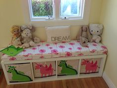 Amazing reading bench/storage!! So happy with how this came out! Ikea Kallax, Custom made cushion from Etsy & Sprout storage boxes!