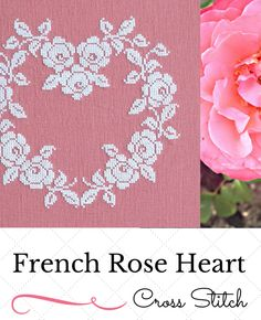 French Rose Heart ~ PDF Cross Stitch Pattern By Sew French. Stitch this beautiful and simple on rose, flax or blue linen. It would also look nice stitched with red silk or DMC floss on white linen for a Swedish or Scandinavian look. Elegant and timeless. An Heirloom Piece. Embroidery. Handmade. DIY. Craft. Sew. Needlework.