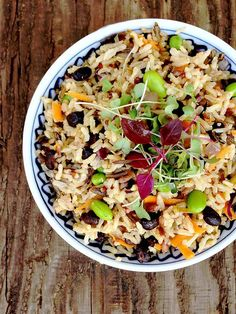 Vegetable Protein Packed: Black Bean Edamame Fried Brown Rice Medley #recipe #vegan #flexitarian #glutenfree #Vegetarian
