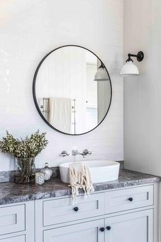 Bathroom with round mirrors and light blue cabinetry in modern farmhouse in the New South Wales Southern Highlands. Farmhouse Light Fixtures, Farmhouse Lighting, Modern Farmhouse Style, Vintage Farmhouse, Modern Country, Antique White Usa, Gothic Home Decor, Gothic House, Natural Home Decor