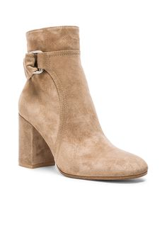 Image 2 of Gianvito Rossi Suede Belted Ankle Boots in Bisque