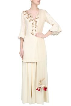 Ivory and gold embroidered motifs short kurta and pants set available only at Pernia's Pop Up Shop.
