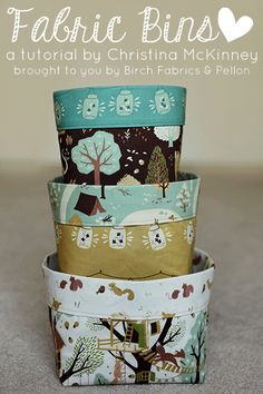 Endless possibilities with all the fun fabric choices out there. DIY Fabric Bins via Birch Fabrics