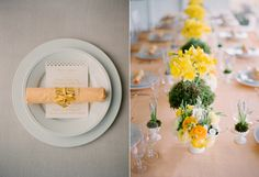 Peach Napkin Yellow Flowers