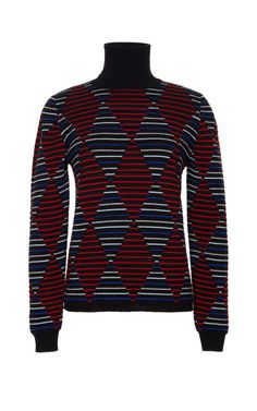 Harlequin-Print Wool-Blend Turtleneck Sweater by MSGM Now Available on Moda Operandi