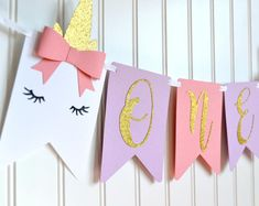 Lamb Sheep ONE Age High Chair Birthday Party Banner Sign Pink Green Gold Woodland