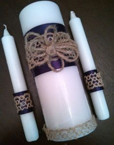 Unity-Candle-Set-for-Weddings-Rustic-Burlap-with-Purple-Ribbon-w-Daisy