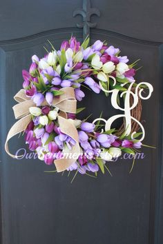 Miniature Tulips/ Garden Decor/ Easter Decor ideas/Etsy Wreath/Mothers Day Gifts/Spring Wreath/Monogrammed Gifts A large spray of miniature artificial tulips secured to a grapevine base with your…MoreMore Spring Door Wreaths, Easter Wreaths, Summer Wreath, Tulip Wreath, Floral Wreath, Decoration Inspiration, Decor Ideas, Gift Ideas, Etsy Wreaths