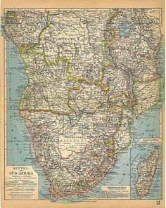 Africa Vintage Map Southern and Central 1928