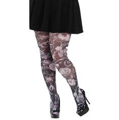 Pamela Mann: Oriental Inspired Floral Printed Tights Muted Shades Black & White. Sizes 8 26 Steampunk Gothic Victorian Cyber Punk Dolly Kei Mori