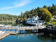 Roche Harbor - San Juan Island, Washington.  Andy and I were watching a small plane land in the water. It then drove up to that dock and family got out and walked up to the house.  Really . yup really..bc
