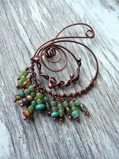 Celtic Shawl pin, Rustic Copper sweater pin or scarf pin in swirly design with czech glass, copper brooch