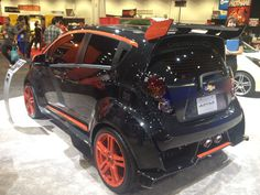 The aggressive #ChevySpark Sinister #concept blends rally-inspired exterior styling cues with a black appearance. #SEMA