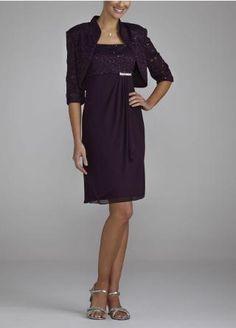 3/4 Sleeve Chiffon and Lace Jacket Dress - David's Bridal- mobile