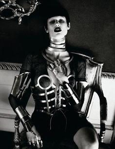 INTERVIEW MAGAZINE- Elise Crombez & Saskia de Brauw in Metal Headz by Mert & Marcus. Karl Templer, March 2012, www.imageamplified.com, Image Amplified1 (1)