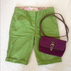 Green chino shorts These knee length Jcrew shorts would look perfect with pink gingham button down! J. Crew Shorts Bermudas