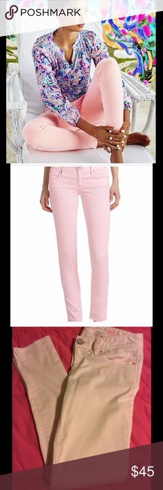 Lilly Pulitzer Pink Fizz sateen Worth skinnies Awesome pale pink sateen Worth skinny jeans isize 4. New without tags, never worn. Very pretty Pink Fizz color. Lilly Pulitzer Pants Skinny