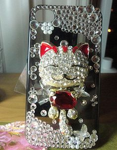 Iphone 4 & 4s cases big red Fortune Cat shining case for your cell phone