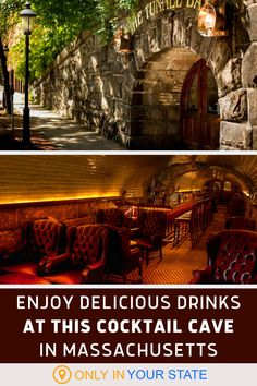 If you're looking for a great place for a unique date night in Massachusetts, head to Tunnel Bar in Northampton. You'll enjoy delicious food and drinks in their underground cocktail cave. Places To Eat, Great Places, Cocktails, Drinks, Haunted Places, Small Towns, Massachusetts, Delicious Food, New England